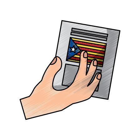 hand with voting ballot catalonia referendum vector illustration 일러스트