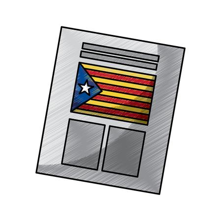 Papeleta utilizada para el referéndum de Cataluña de la ilustración vectorial de la independencia Foto de archivo - 90829479