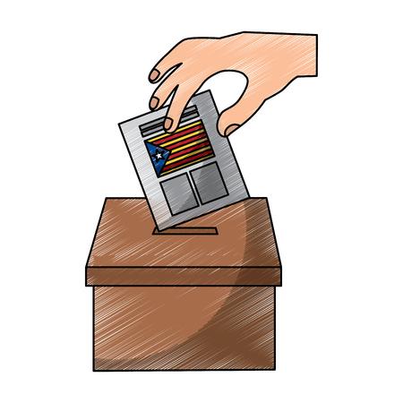 Main en insérant un bulletin de vote en papier dans l'indépendance vector illustration de Catalogne Banque d'images - 90829482