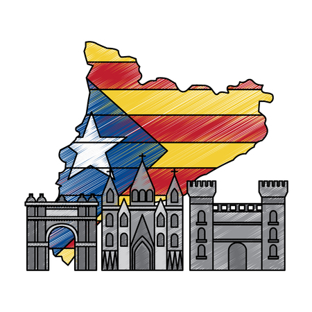 카탈로니아 바르셀로나 플래그지도 및 건물 기호 그림을 벡터 설정