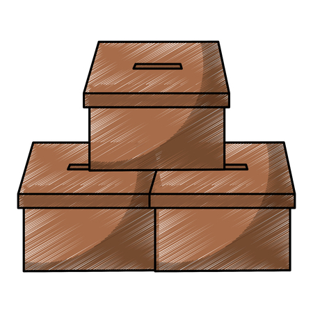pile vote cardboard boxes carton image vector illustration