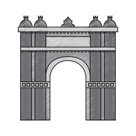 Arco trionfale di Barcellona Spagna sito storia illustrazione vettoriale Archivio Fotografico - 90829513