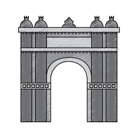 triumphal arch of barcelona spain site history vector illustration