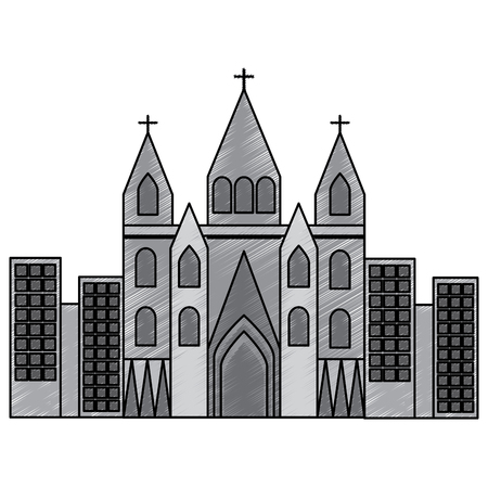 sagrada familia gaudi basilica temple church in barcelona spain vector illustration Çizim