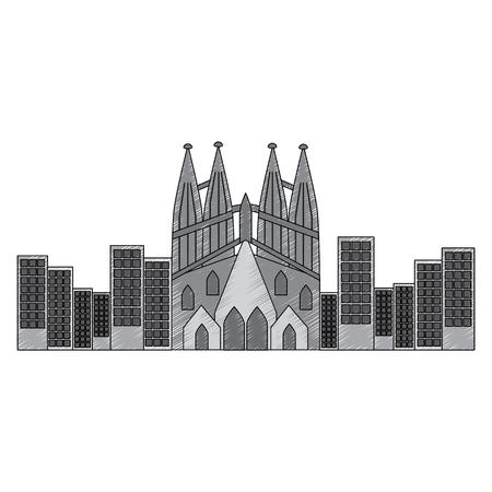 sagrada familia gaudi basilica temple church in barcelona spain vector illustration Vettoriali