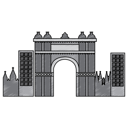 バルセロナスペインサイトの勝利アーチ歴史ベクトルイラスト