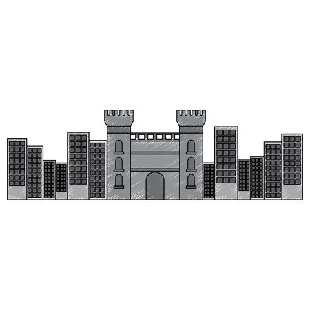 カタルーニャ城跡の有名な歴史的ベクトルイラスト  イラスト・ベクター素材