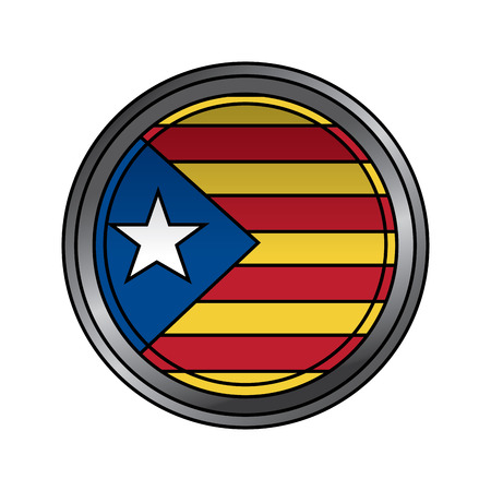 catalonia flag patriotic independence button badge vector illustration
