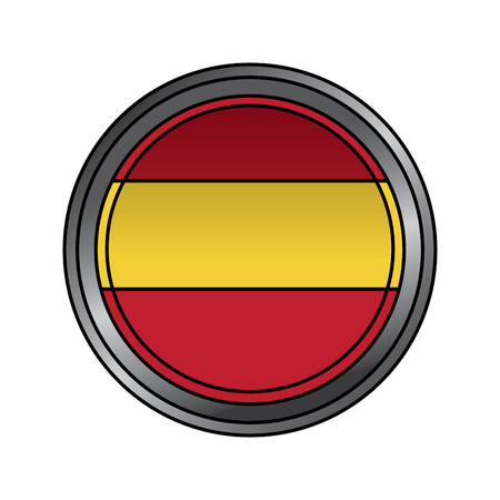 spain flag round national round button icon on white background vector illustration Vettoriali