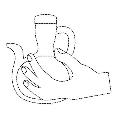 hand holding glass oil kitchen ingredient vector illustration