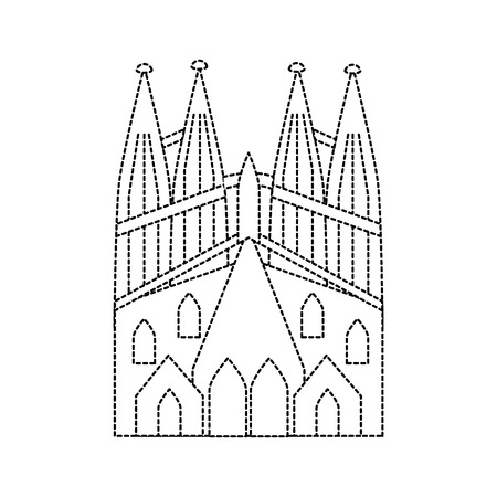 sagrada familia gaudi basilica temple church in barcelona spain vector illustration Ilustrace