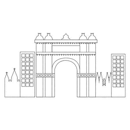 Arco trionfale di Barcellona Spagna sito storia illustrazione vettoriale Archivio Fotografico - 90829596