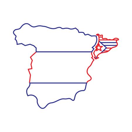 スペイン地図とカタルーニャ国旗独立危機危機ベクトルイラスト