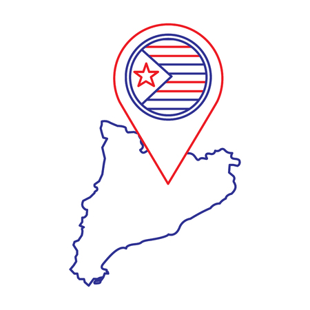 独立したカタルーニャ国家主義者ピン フラグ社会主義運動ランドマーク ベクトル図の地図