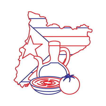 카탈로니아 플래그 모양지도 국가 독립 및 크림 음식 전통 벡터 일러스트 레이션 일러스트