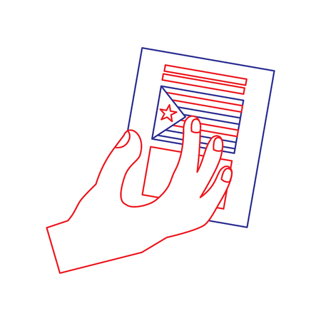 hand with voting ballot catalonia referendum vector illustration 向量圖像