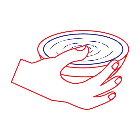 Hand hält Schüssel Suppe köstliche Ernährung Vektor-Illustration Standard-Bild - 90829669