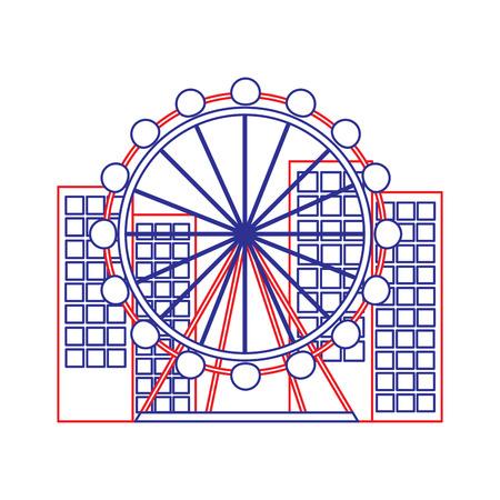 バルセロナアトラクション観覧車ランドマーク観光ベクトルイラスト