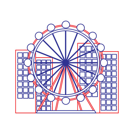 barcelona attraction ferris wheel landmark tourism vector illustration