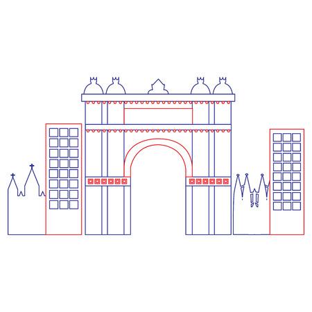 Arco trionfale di Barcellona Spagna sito storia illustrazione vettoriale Archivio Fotografico - 90829686