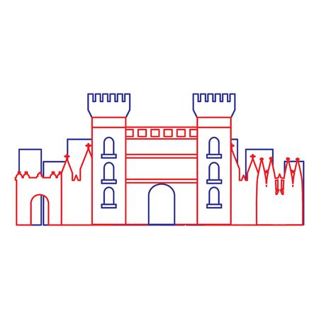 카탈로니아 어 성 기념물 유명한 역사적인 벡터 일러스트 레이 션