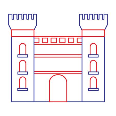 catalonia castle monument famous historic vector illustration