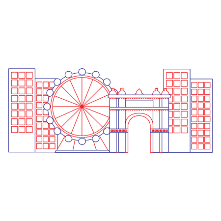 barcelona attraction ferris wheel landmark tourism vector illustration