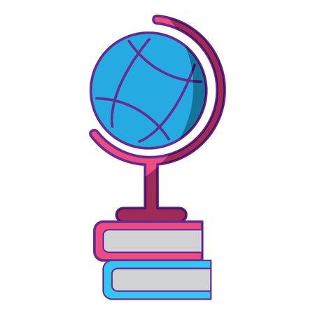 학교 세계지도 및 책 초등 연구 벡터 일러스트 레이션 일러스트
