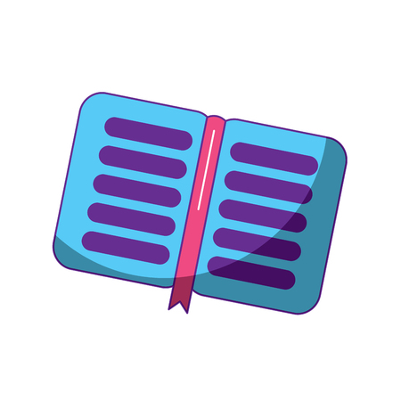 open book school with bookmark literature vector illustration