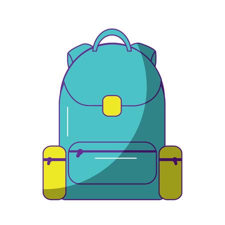 school backpack bag handle zipper vector illustration