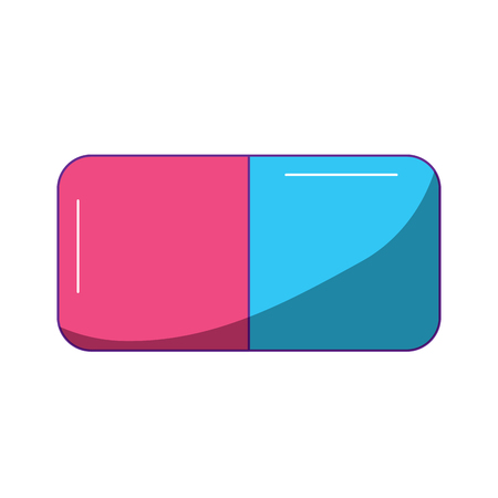pink and blue eraser rubber school icon vector illustration