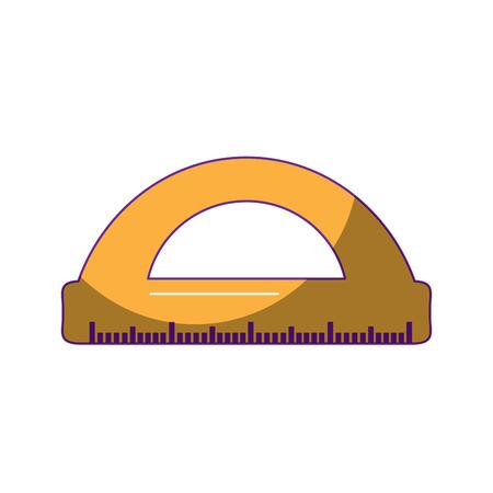 school protractor geometric supply element icon vector illustration