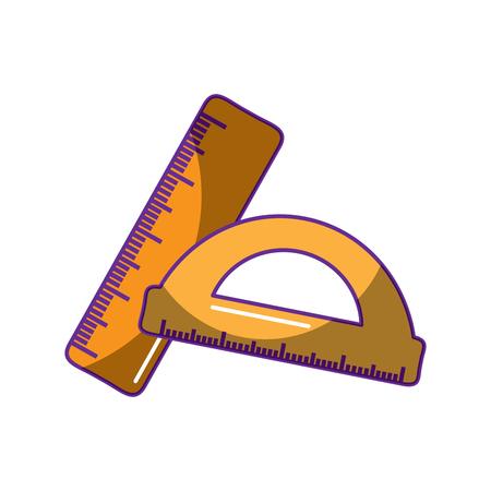 学校の定規と分度器の幾何学的測定ベクトル図  イラスト・ベクター素材