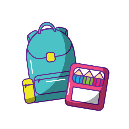 school rugzak en kleur vak levert vector illustratie Stock Illustratie