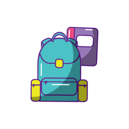 schoolbag with notebook supplies education and zippers vector illustration