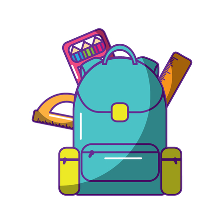 schoolbag with ruler color protractor supplies education and zippers vector illustration