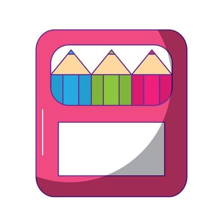 school color in box art supplies accessory vector illustration