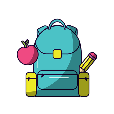 school backpack apple and pencil back elementary study vector illustration