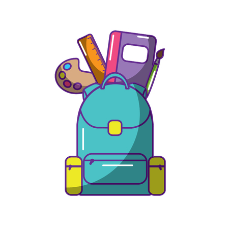 schoolbag with school supplies education and zippers vector illustration