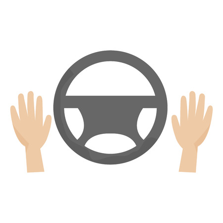 hands driver with steering wheel vector illustration design