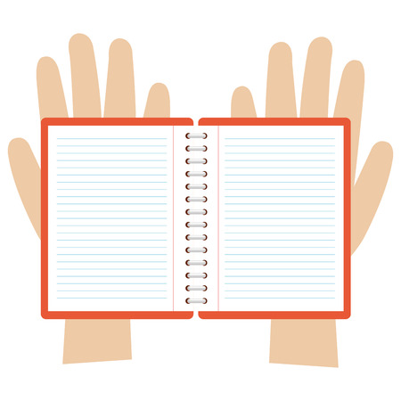 hands with notebook icon vector illustration design