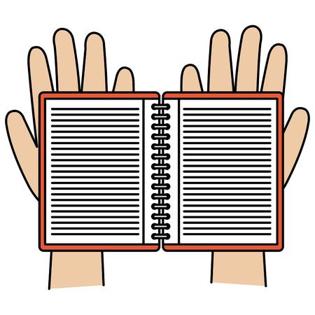 handen met vector de illustratieontwerp van het notitieboekjepictogram