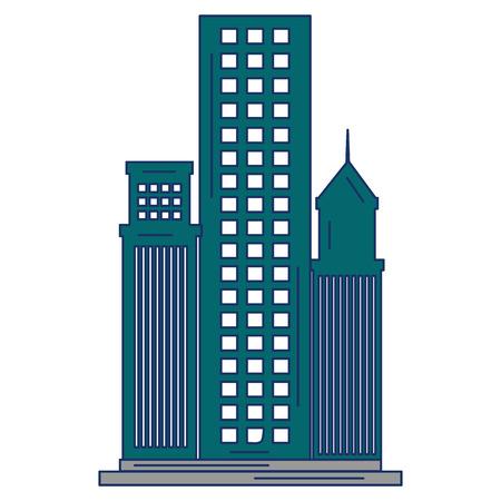 skyscraper buildings isolated icon vector illustration design