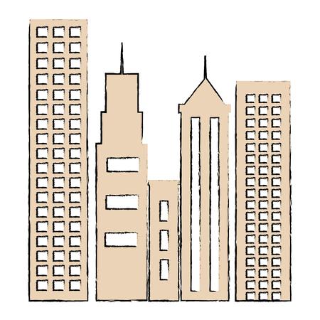 cityscape buildings isolated icon vector illustration design