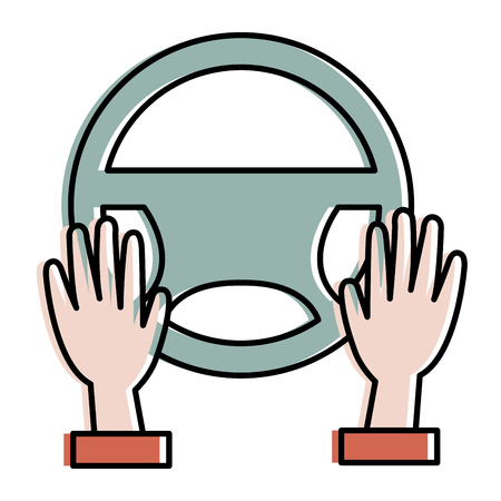 hands driver with steering wheel vector illustration design
