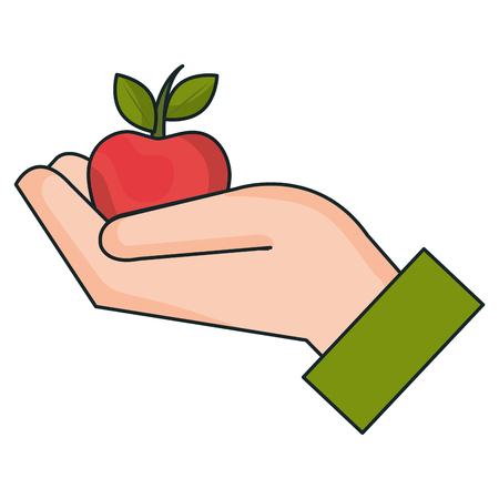 hand with apple icon vector illustration design