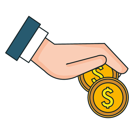 hand with coin money isolated icon vector illustration design Banco de Imagens - 90832939