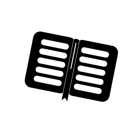 open book school with bookmark literature vector illustration black image