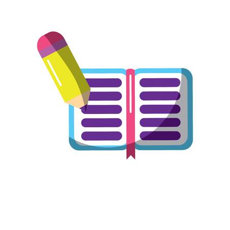 school notitieboekje en potlood schrijven kennis vector illustratie