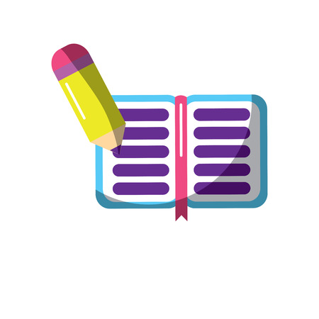 school notebook and pencil writing knowledge vector illustration